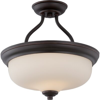 Craine 2-Light Semi Flush Mount Finish: Mahogany Bronze