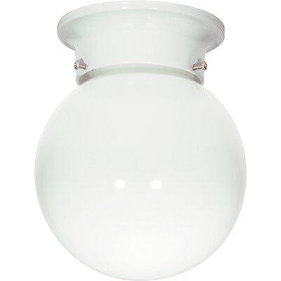 1-Light Semi Flush Mount Finish: White, Size: 7.25 H x 6 W x 6.75 D
