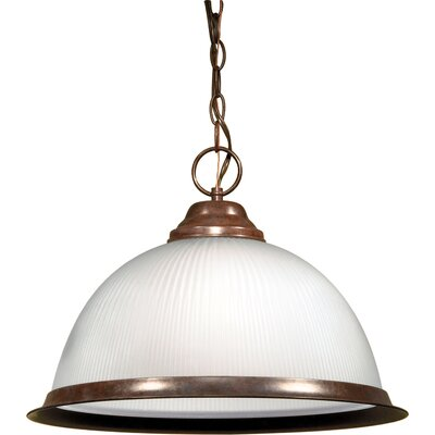 Dedham 1-Light Glass Shade Pendant Finish: Old Bronze