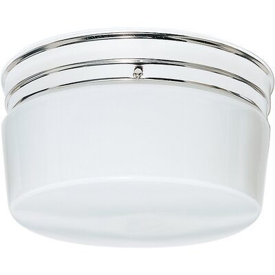 Karnes 2-Light Flush Mount Finish: Polished Chrome, Shade Color: White