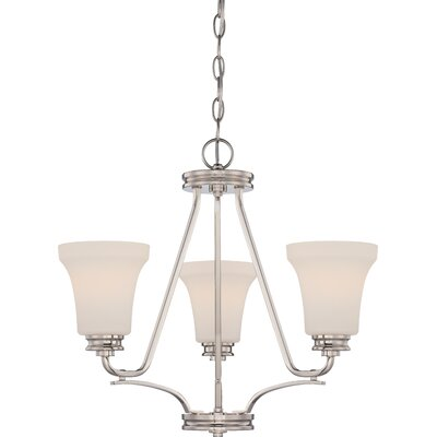 Cody 3-Light Shaded Chandelier Finish: Polished Nickel