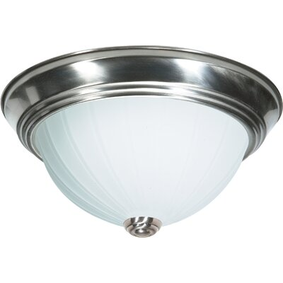 David 3-Light Flush Mount Finish: Brushed Nickel, Size: 5.5 H x 13.25 W x 13.5 D