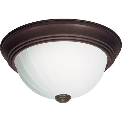 Capri 2-Light Glass Shade Flush Mount Finish: Old Bronze