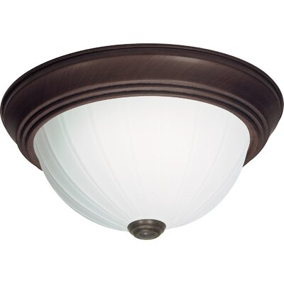 David 3-Light Flush Mount Finish: Old Bronze, Size: 5.5 H x 13.25 W x 13.5 D
