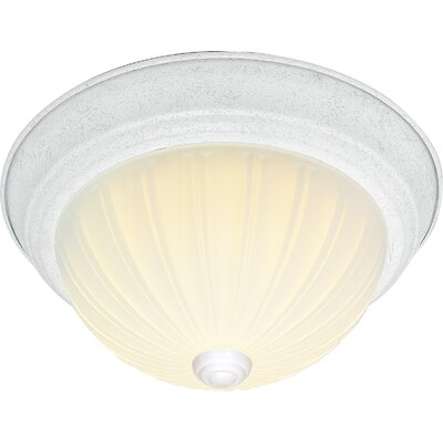 Capri 2-Light Glass Shade Flush Mount Finish: Textured White