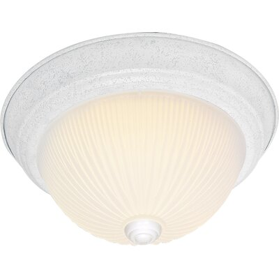 Capri Traditional 2-Light Flush Mount Finish: Textured White, Size: 5.5 H x 13.25 W x 13.5 D