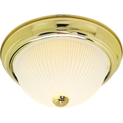 Capri Traditional 2-Light Flush Mount Finish: Polished Brass, Size: 6 H x 15.25 W x 15.5 D