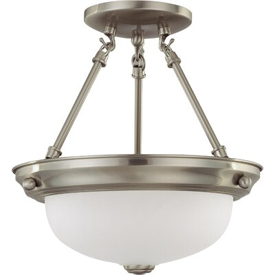 Baumgartner 2-Light Semi Flush Mount Size: 14 H x 13.25 W, Energy Star: Yes