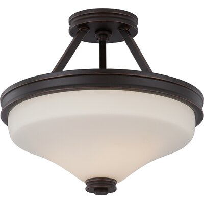 Crainville 2-Light Semi Flush Mount Finish: Mahogany Bronze