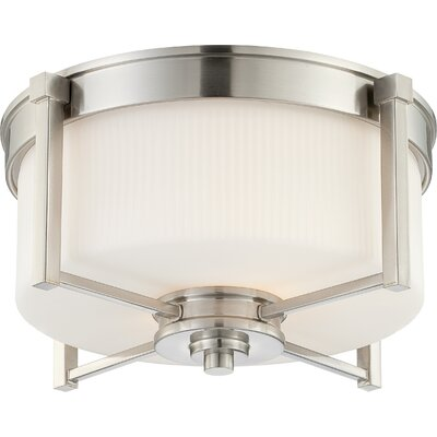 Ridley Flush Mount Size: 9.5 H x 18.75 W, Finish / Glass Finish: Prairie Bronze / Amaretto Glass
