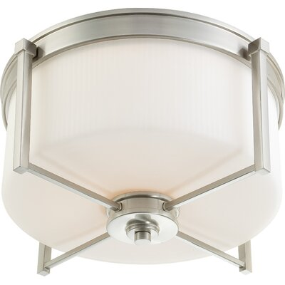 Wright Flush Mount Size: 9.5 H x 18.75 W, Finish / Glass Color: Brushed Nickel / Satin White