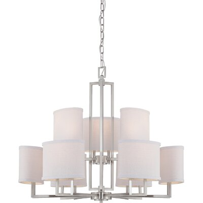 Bouley 9-Light Shaded Chandelier Finish / Shade Finish: Brushed Nickel / Slate Gray Fabric