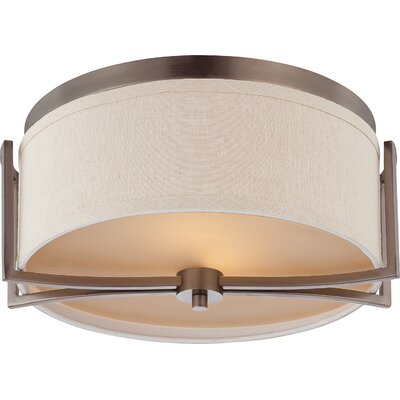 Bouley 2-Light Flush Mount Finish / Shade Finish: Hazel Bronze / Khaki Fabric
