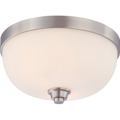 Helium Flush Mount Size / Finish / Shade Color: 7 H x 13 W / Brushed Nickel / Satin White