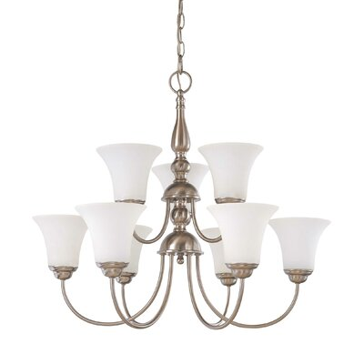 Yale 9-Light Shaded Chandelier Energy Star: Yes, Finish: Brushed Nickel