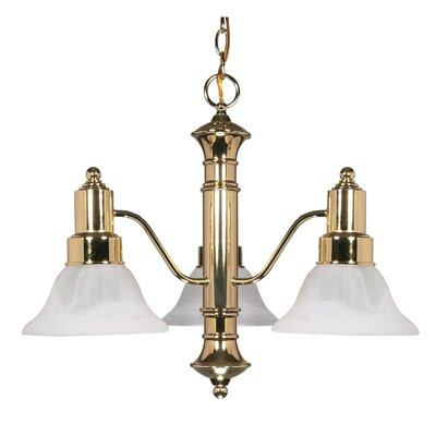 Mayhugh 3-Light Polished Brass Shaded Chandelier