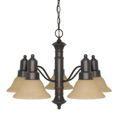 Mayhugh 5-Light Mahogany Bronze Shaded Chandelier Energy Star: Yes