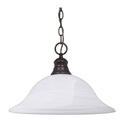 1-Light Inverted Pendant Energy Star: No, Shade Type: Alabaster Glass, Finish: Old Bronze
