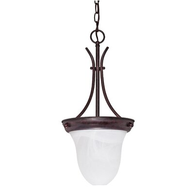 Deforge 1-Light Inverted Pendant Finish: Old Bronze, Shade Type: Bell Glass, Energy Star: No