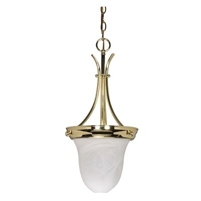 Deforge 1-Light Inverted Pendant Finish: Polished Brass, Shade Type: Bell Glass, Energy Star: No