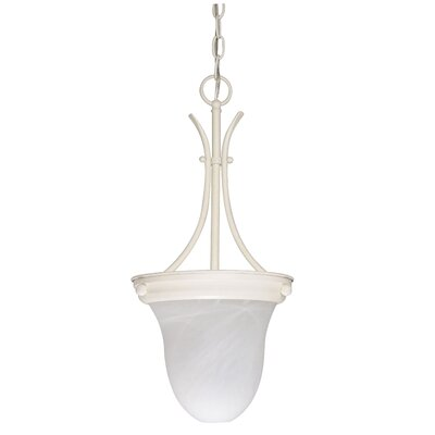 Deforge 1-Light Inverted Pendant Finish: Textured White, Shade Type: Bell Glass, Energy Star: No