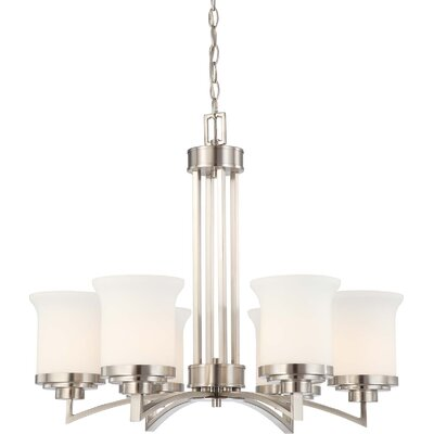 Craddock 6-Light Shaded Chandelier Finish / Shade Type: Brushed Nickel / Satin White