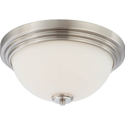 Craddock Flush Mount Size / Finish / Shade Finish: 6.5 H x 13.75 W / Brushed Nickel / Satin White