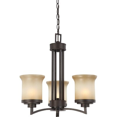 Harmony 3-Light Shaded Chandelier Finish / Shade Type: Dark Chocolate Bronze / Saffron