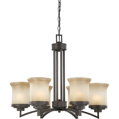 Craddock 6-Light Shaded Chandelier Finish / Shade Type: Dark Chocolate Bronze / Saffron