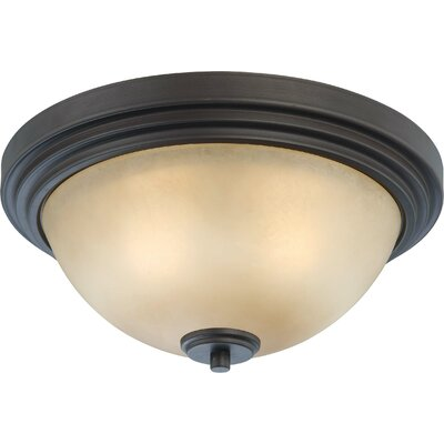 Harmony Flush Mount Size / Finish / Shade Color: 6.5 H x 13.75 W / Drk Chocolate Bronze / Saffron