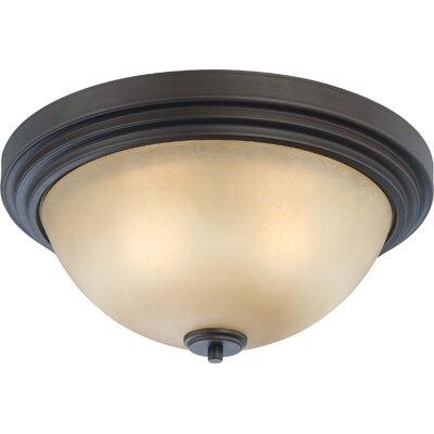 Harmony Flush Mount Size / Finish / Shade Color: 7.5 H x 16.5 W / Drk Chocolate Bronze / Saffron