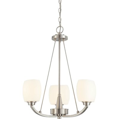Crafton 3-Light Shaded Chandelier Finish / Shade Type: Brushed Nickel / Satin White