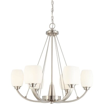 Crafton 6-Light Shaded Chandelier Finish / Shade Type: Brushed Nickel / Satin White