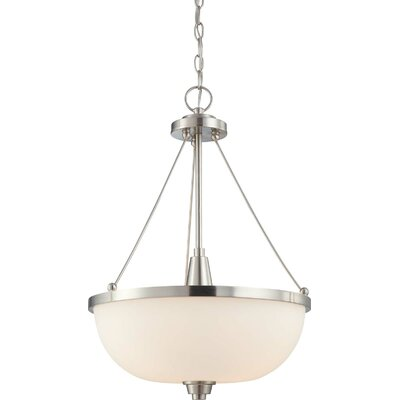 Crafton 3-Light Inverted Pendant Finish / Shade Type: Brushed Nickel / Satin White