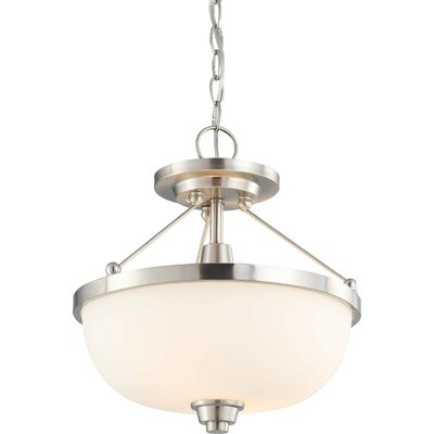 Richmond 2-Light Convertible Pendant Finish / Shade Type: Brushed Nickel / Satin White, Size: 33 x 15