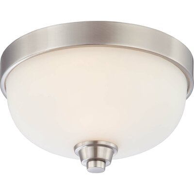 Crafton Flush Mount Size / Finish / Shade Color: 7.5 H x 15 W / Vintage Bronze / Cream Beige