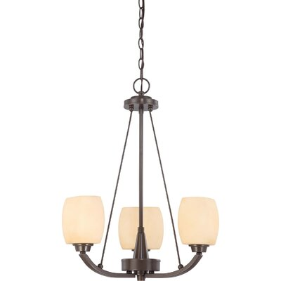 Crafton 3-Light Shaded Chandelier Finish / Shade Type: Vintage Bronze / Cream Beige