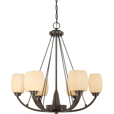 Crafton 6-Light Shaded Chandelier Finish / Shade Type: Vintage Bronze / Cream Beige