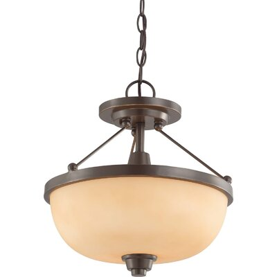 Crafton 2-Light Convertible Pendant Finish / Shade Type: Vintage Bronze / Cream Beige, Size: 12 x 13.75