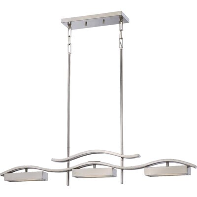 Wave 3-Light Kitchen Island Pendant Finish: Brushed Nickel