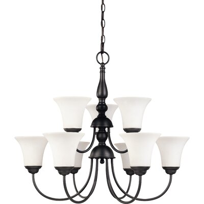 Yale 9-Light Shaded Chandelier Energy Star: Yes, Finish: Dark Chocolate Bronze
