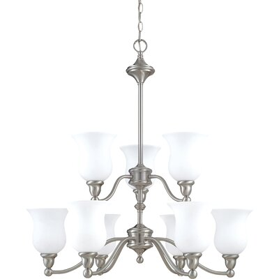 Glendwood 9-Light Shaded Chandelier Energy Star: No, Finish: Brushed Nickel