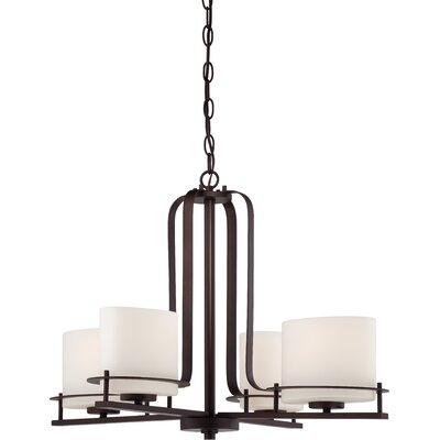 Loren 4-Light Shaded Chandelier Finish: Venetian Bronze