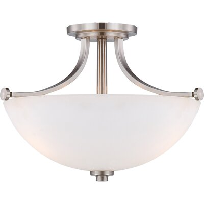 OShaughnessy 3-Light Semi Flush Mount Finish: Brushed Nickel