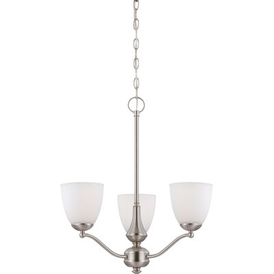 Rockford Transitional 3-Light Shaded Chandelier Color: Brushed Nickel, Bulb Type: T2 Mini Spiral