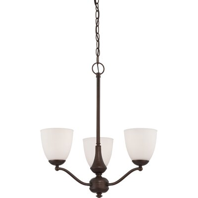 Rockford Transitional 3-Light Shaded Chandelier Color: Prairie Bronze, Bulb Type: T2 Mini Spiral