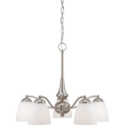 Rockford 5-Light Brushed Nickel Shaded Chandelier Color: Brushed Nickel, Bulb Type: T2 Mini Spiral