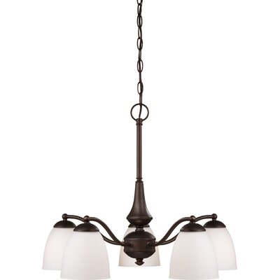 Rockford 5-Light Brushed Nickel Shaded Chandelier Color: Prairie Bronze, Bulb Type: T2 Mini Spiral