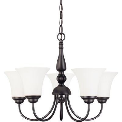 Dupont 5-Light Shaded Chandelier Energy Star: No, Finish: Brushed Nickel