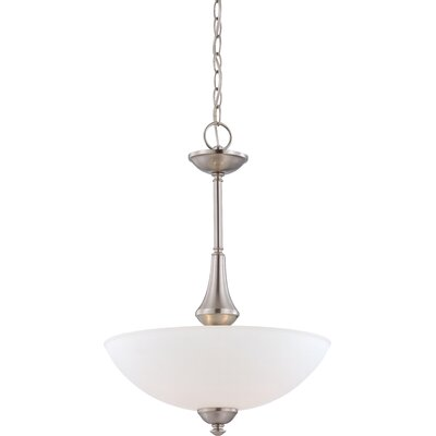 Rockford 3-Light Pendant Color: Brushed Nickel, Bulb Type: T2 Mini Spiral